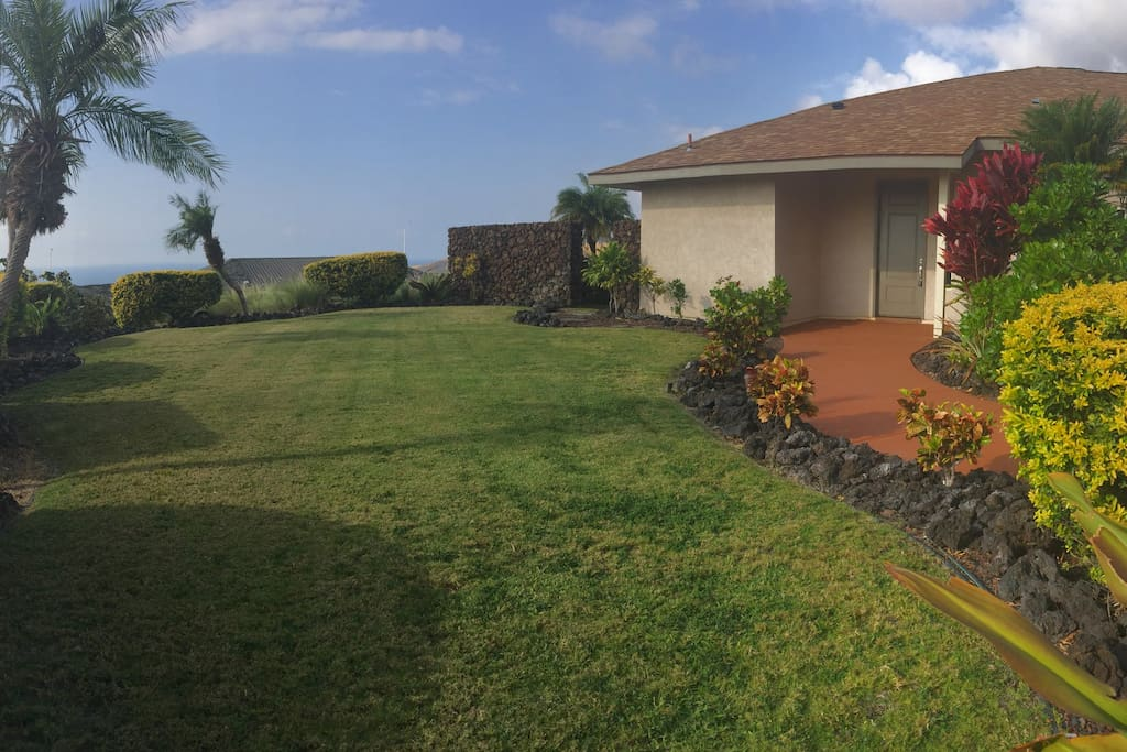 Front Yard and Front entry.  Notice the view to the ocean?