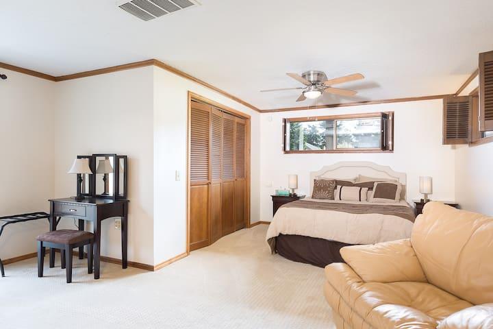 Large bedroom with queen memory foam bed