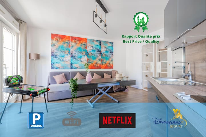 Appart Cosy 10 P + Wifi+ Netflix +Parking à Disney