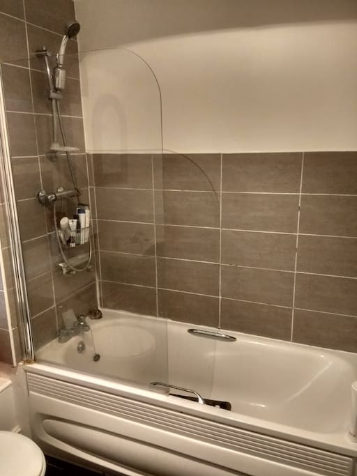 Big bathroom with bath and shower, lots of hot water, with the use of shampoo, shower gel and fresh towels