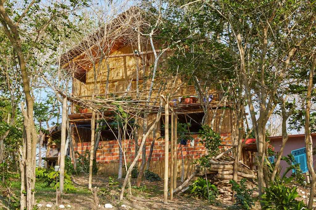 Constructed mainly of bamboo, air blows through the cabin's walls so you feel cool inside