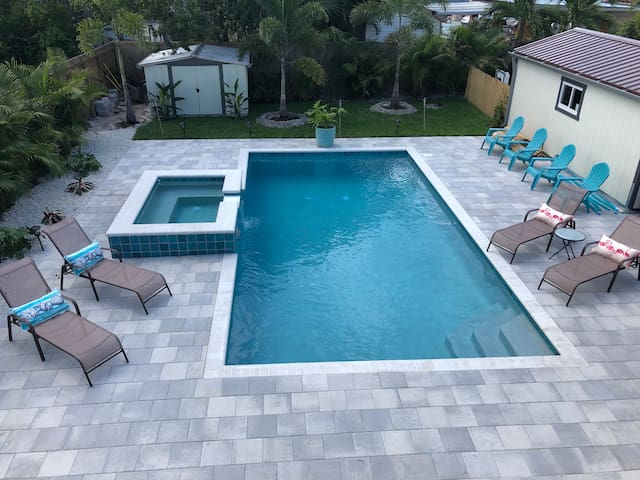 House in Old Pompano with heated salt water pool