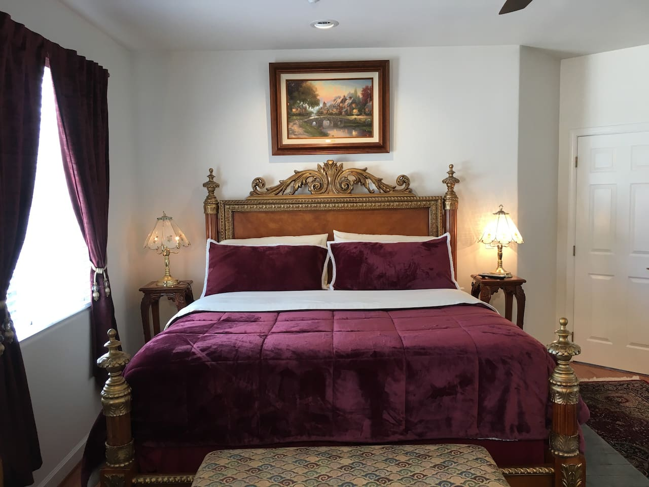 The Cloud 9 Room. This 400 square foot master suite comes appointed with a king bed, 55 in TV, dining nook, coffee maker, mini refrigerator, mini library, desk,  bath room with double sinks,  large  bath tub, large shower and private  toilet room.