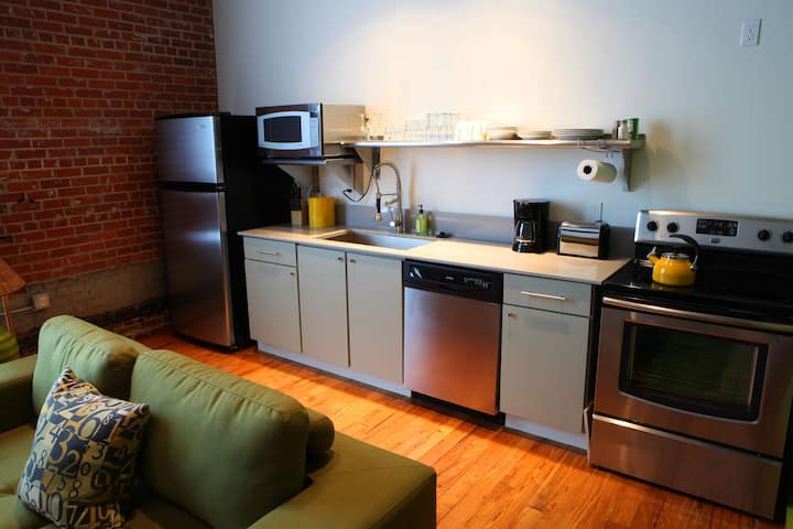 loft style lodging in downtown lafayette