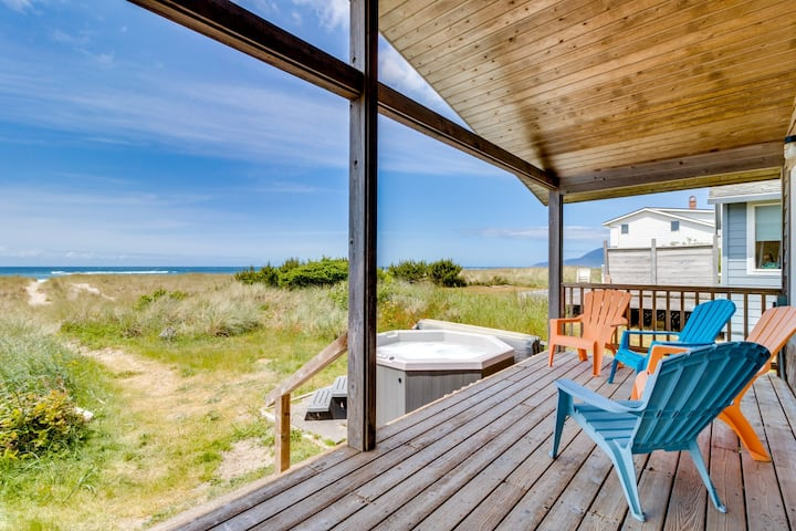 Dog-friendly, oceanfront beach cottage w/ private hot tub! Right on the beach!