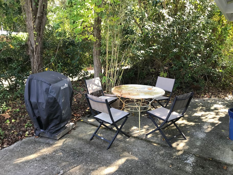 Private Grill and patio with chairs