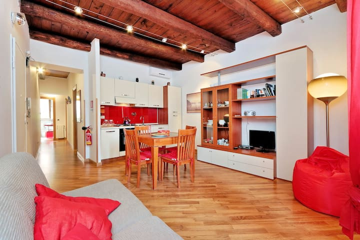 red apartment in the city centre