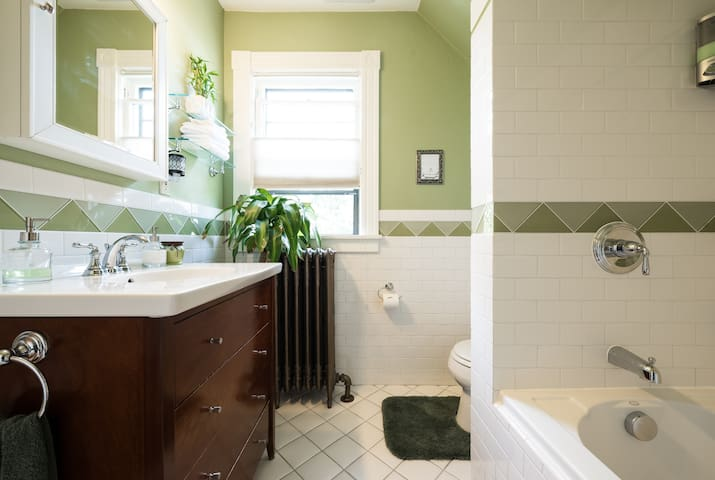The bathing parlor upstairs is shared between two rooms and are cleaned and sterilized by me personally every day at twelve noon. It is stocked with everything you might need and fresh sterilized towels are always available.