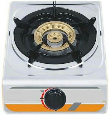 Gas cooker in kitchen