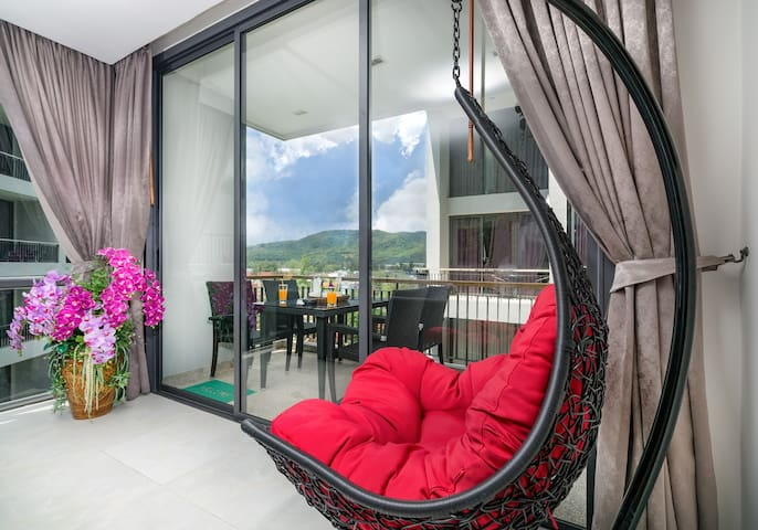 Enjoy the great views from your swing chair in the living room