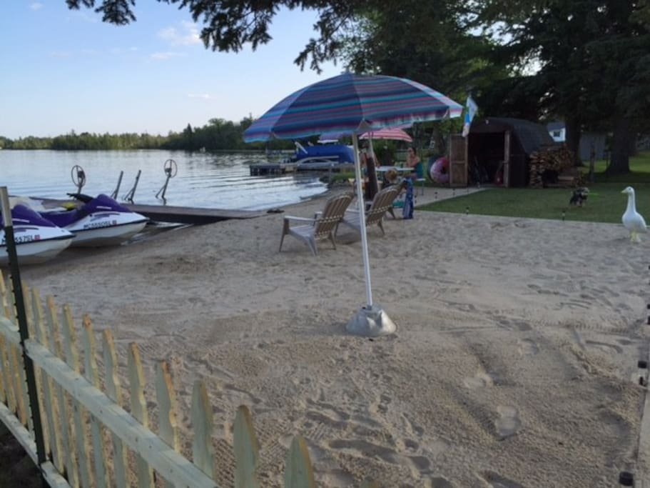 Sandy beach located out the back door