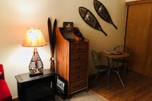 Vintage Snowshoes & Small Table