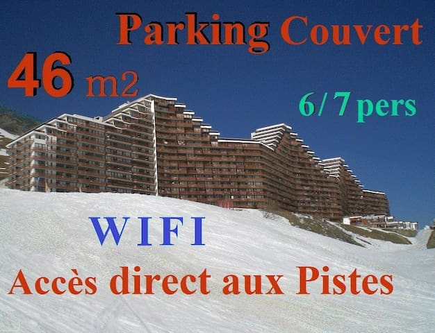 46m2 -7 pers - Garage couvert -WIFI -Ski aux pieds