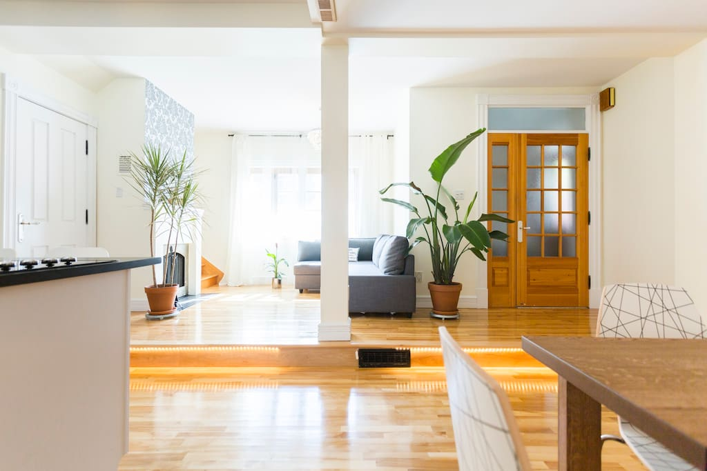 Open area: view of the living room, clear with plenty of light
