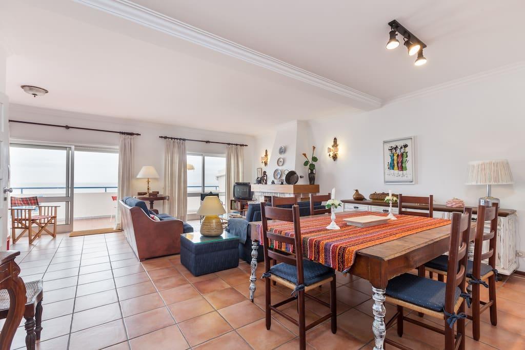 Sala com duas portas de acesso ao terraco, excelente exposicao solar.