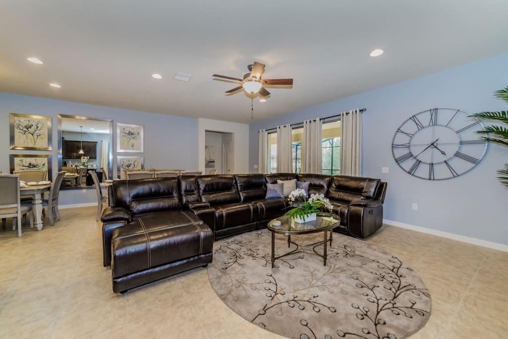 Open floor plan with easy access to the pool deck