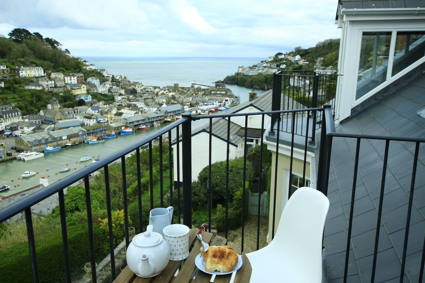 Breakfast on the Balcony with Sea and Estuary views.
