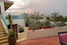 Your terrace. North Eastern view, overcast and rainy day