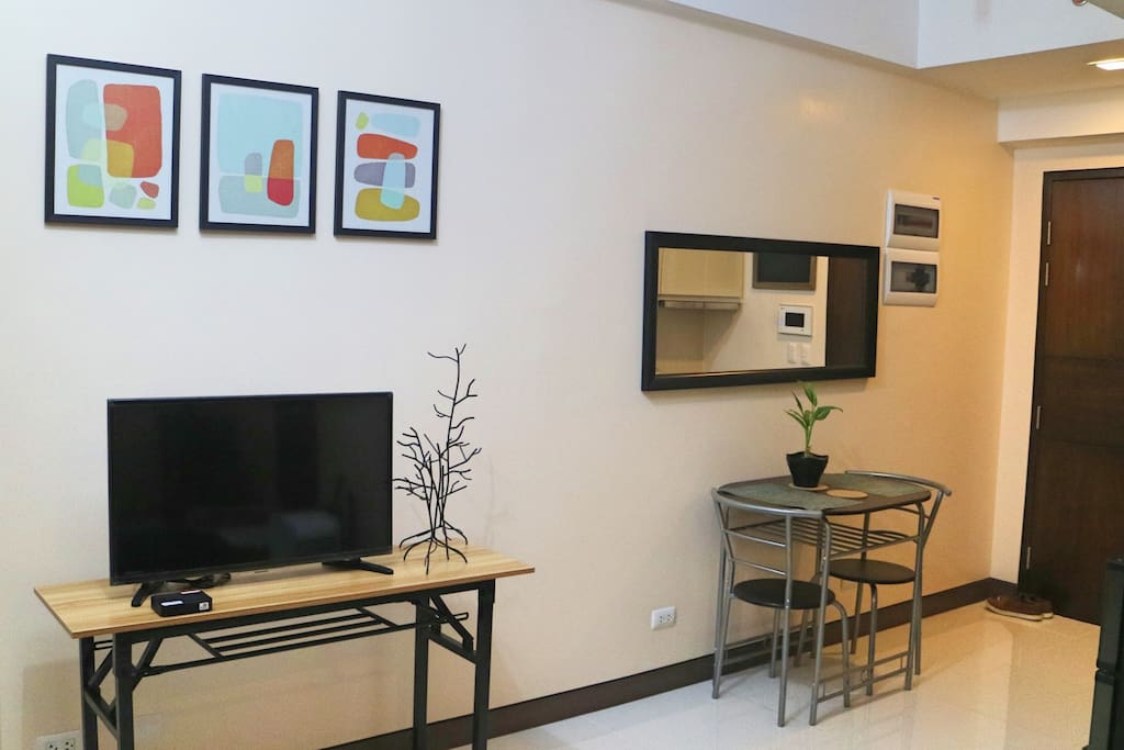 32-in TV set with TV box, 2-Seater Dining Table