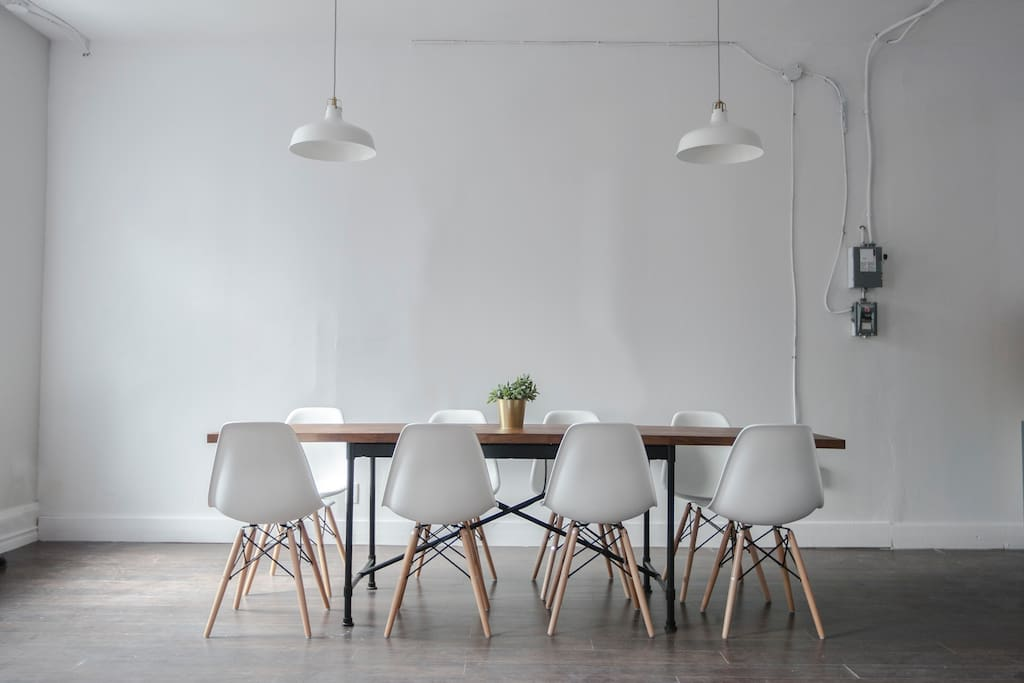 Meeting room table, seating for 8.