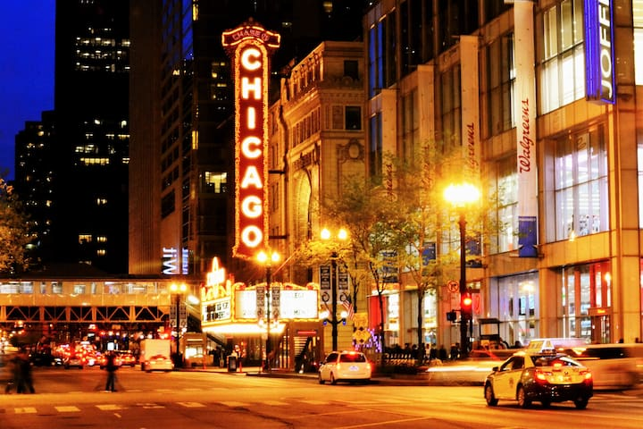 It's 4 minutes away or 0.8 miles to The Chicago Theatre!