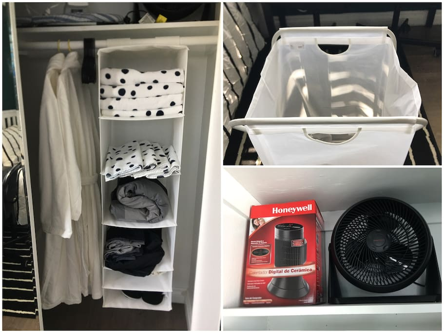 Find what you need in the wardrobe: towels, linens, bathrobes, hangers, slippers and the clothes basket. We also provide mini fan and mini heater to adapt all kinds of Socal weather