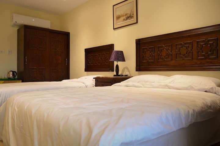 Queen Bed Room + Pyramid View Rooftop + Breakfast!