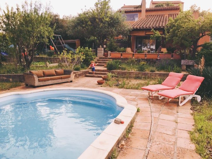 Large villa with pool in quiet village