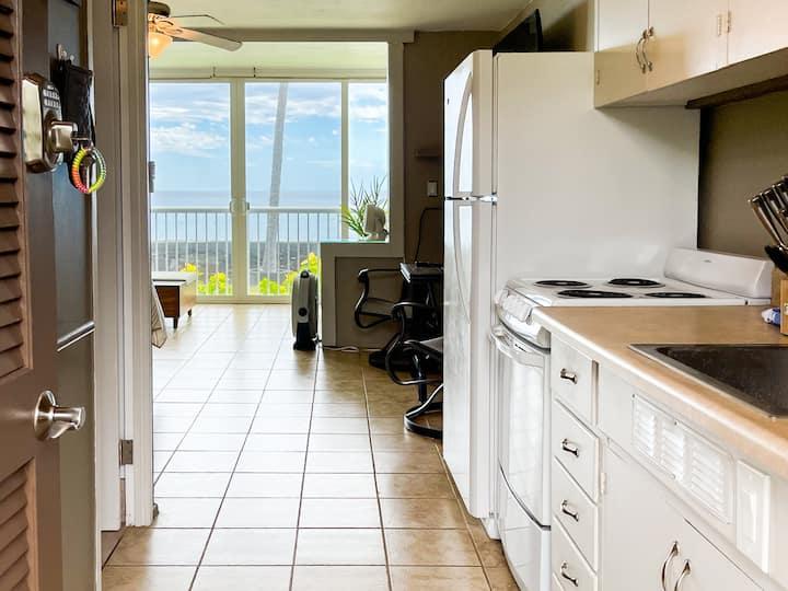 Oceanfront condo with amazing view of Laʻaloa Bay!