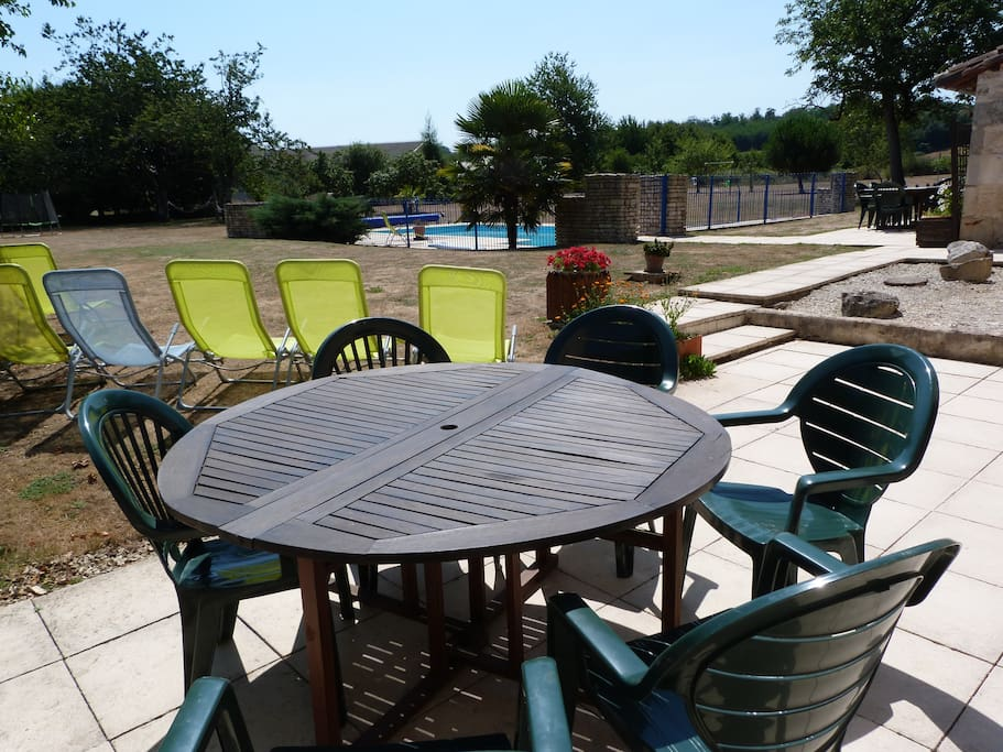 Lots of outside space,for relaxing or taking a dip in our large 12mx6m swimming pool