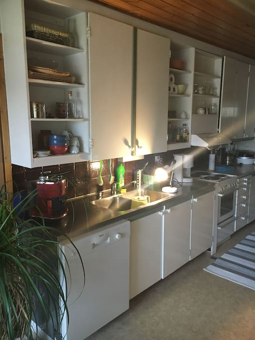 Kitchen and different appliances in use