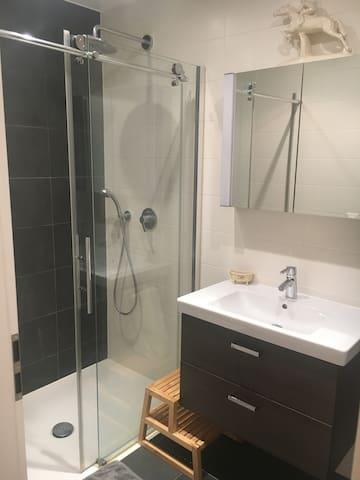 Salle de bain avec douche à l'italienne et douche de tête. Les toilettes sont séparées.