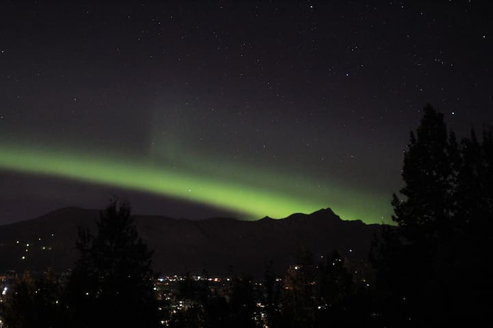 Northern Lights are visible from the back deck