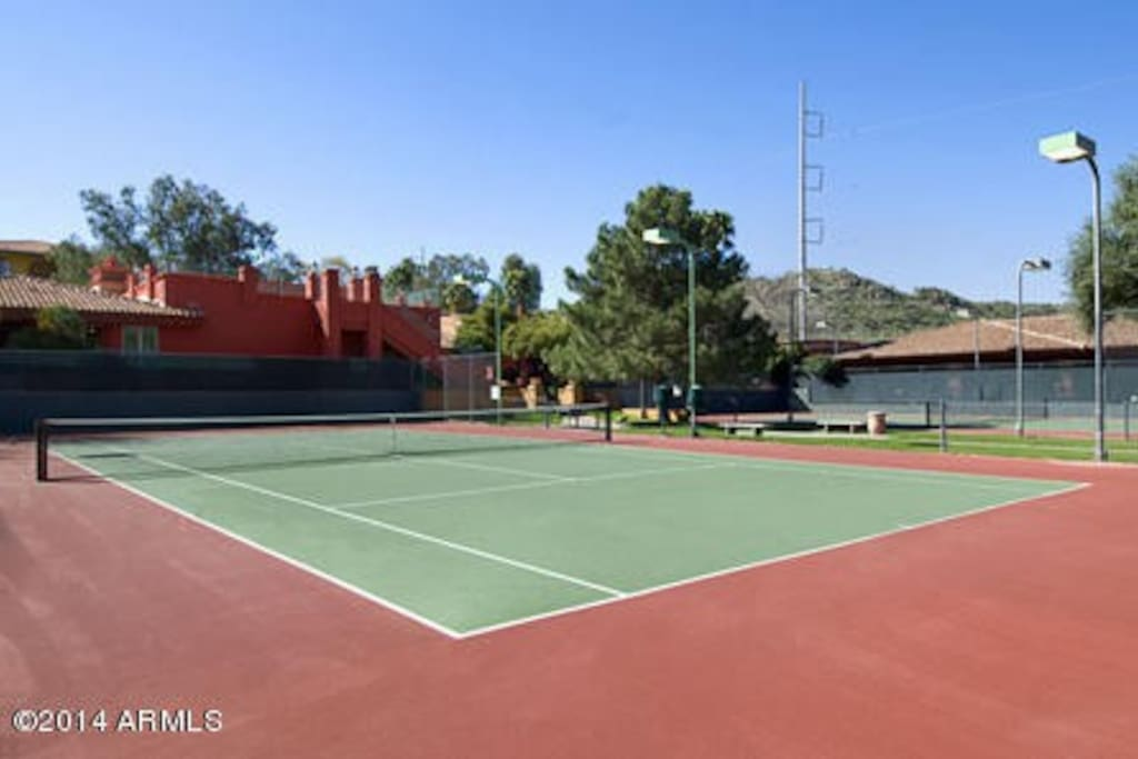 tennis and basketball courts just resurfaced