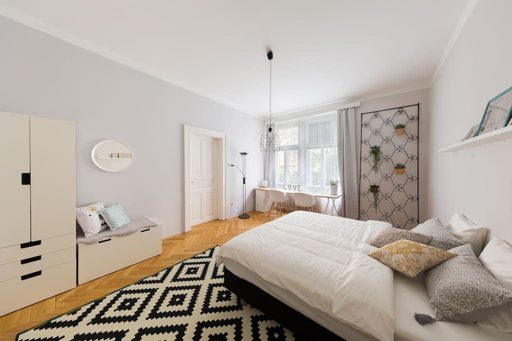 The first bedroom has a double bed that can be converted into two single beds.
