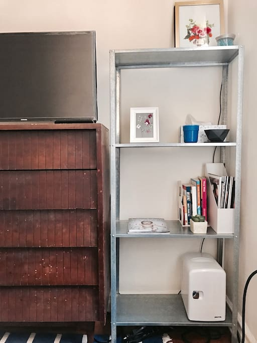 TV is connected with local channels and Netflix. On the shelf, you will find some books and updated magazines, also a fridge for your own use.