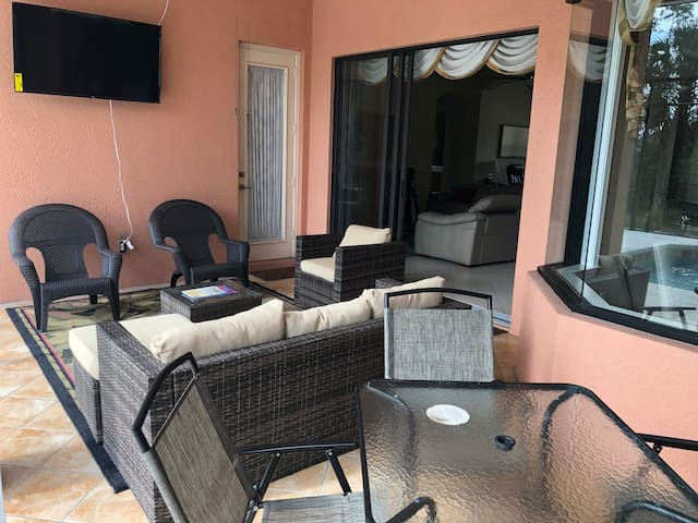 This outside area is also equipped with a 55' smart TV that is ideal for watching guests favorite sports, concerts, games, videos, movies or Netflix in a relaxing al fresco fashion.