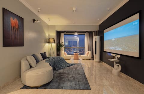 May's home Original Design Luxury Smart Large Three Bedroom Suite/Near Tianmen Mountain/Giant Screen Theater/Latex Bed/Kitchen Bar/Family Room/Floor-to-ceiling Windows