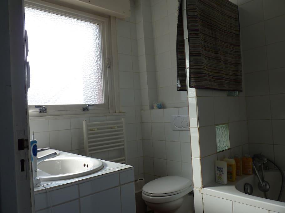 Salle de bains avec toilettes baignoire et douche