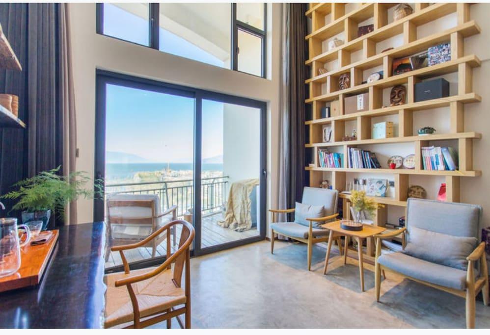 客厅,开放式阳台,可观海