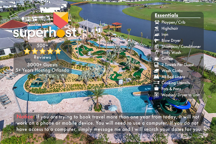 E-NO AIRBNB FEES! 5 Miles 2 Disney-FREE Water Park