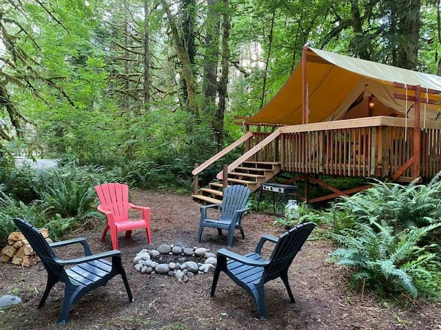 Glamp In The Hood ~Luxury Wall Tent by Sandy River