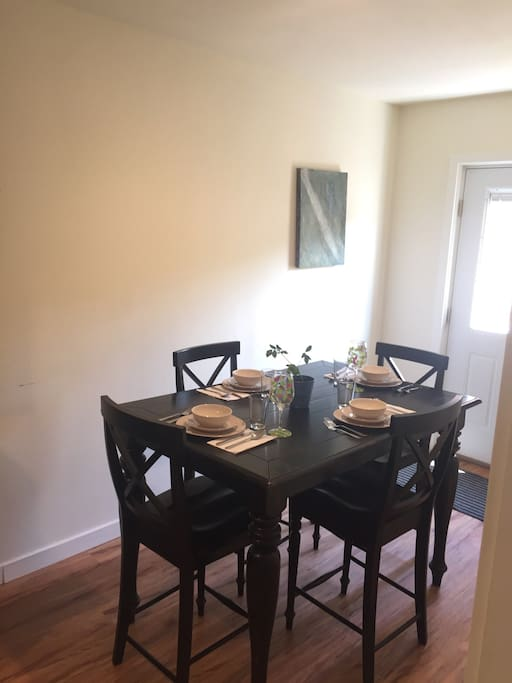 Dining area can seat six (bench is stored in large walk in closet in bedroom #2).