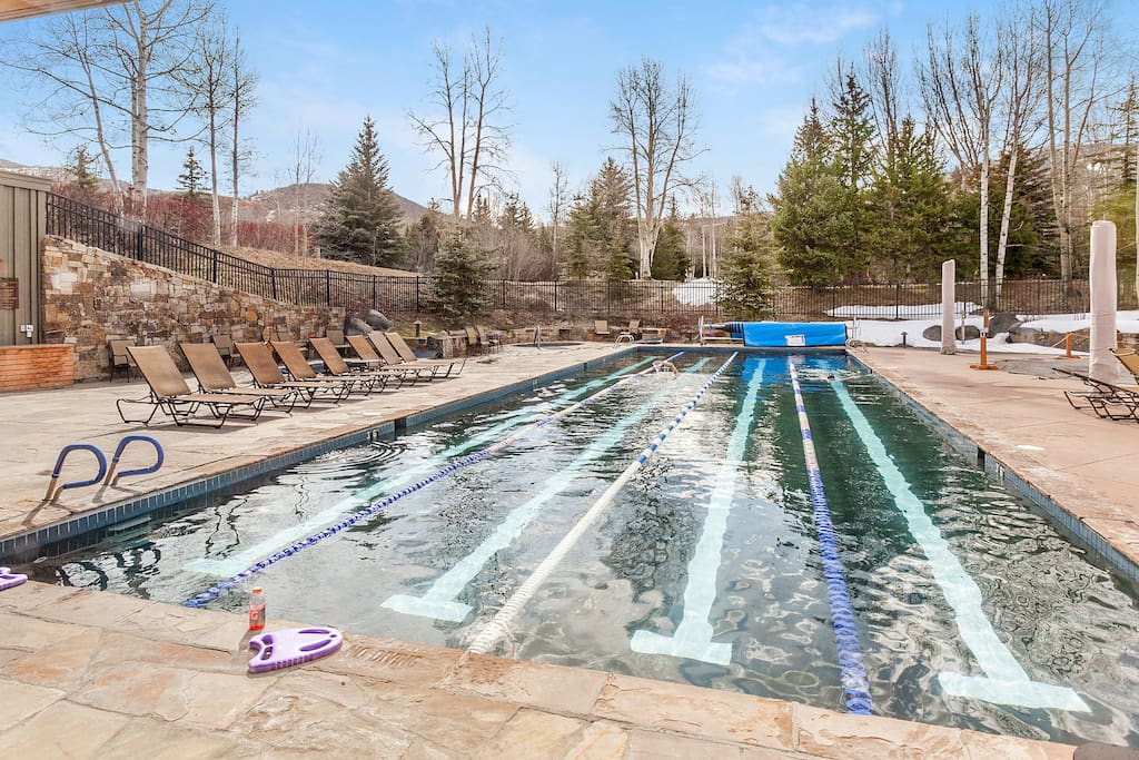 Take a dip in one of the year-round outdoor swimming pools.