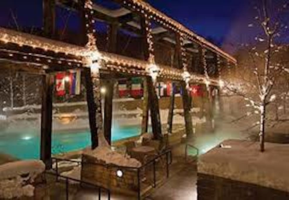Heated outdoor/indoor pool and hot tubs.