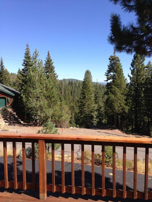 Partial view from front deck.  Hiking trails directly below in woods.