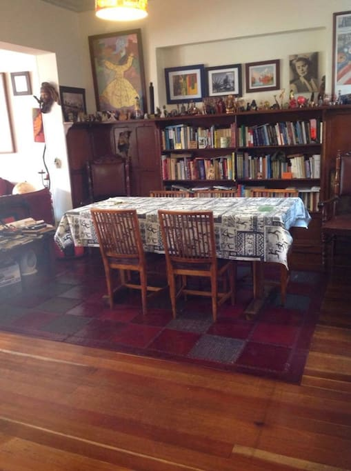 This is the dining room, as you can tell here we have a lot of books!
