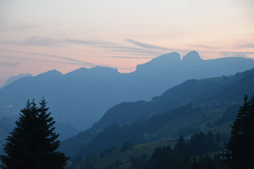sundown from the terrace of the chalet