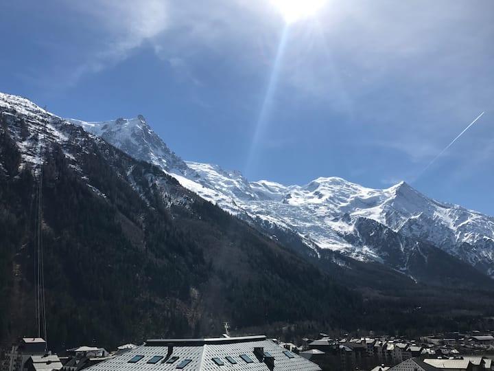 2p hypercentre 48m2 terrasse Mont-Blanc traversant