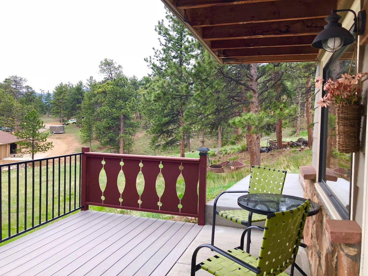 Enjoy watching elk and deer pass by as you relax on the covered patio.